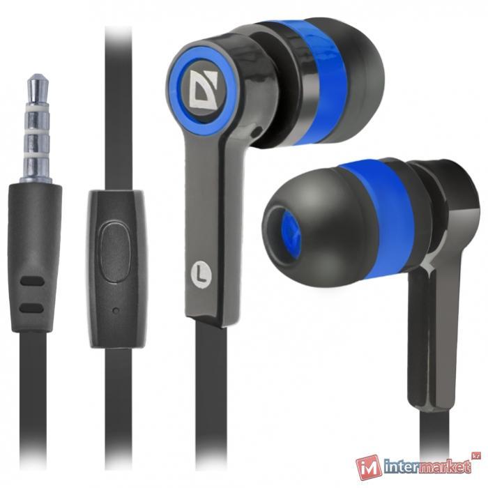 Наушники-вкладыши проводные Defender Pulse 420 черный + синий